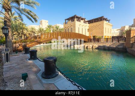DUBAI, UAE - NOV 12, 2018: arabic architecture in Dubai souk Madinat Jumeirah