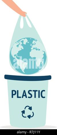 Earth in a plastic bag. Ecology conversation. Eco catastrophe. Segregation and recycling. Flat editable vector illustration, clip art - Stock Photo