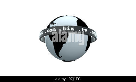 Domain names surrounding planet Earth isolated on white - Stock Photo