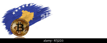 Painted brush stroke in the flag of Kosovo. Bitcoin cryptocurrency banner with isolated on white background with place for your text. - Stock Photo