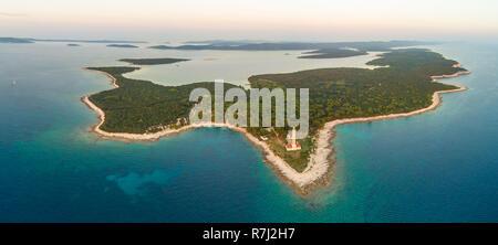 Aerial view of Veli Rat lighthouse and bay on island Dugi Otok in Croatia. - Stock Photo
