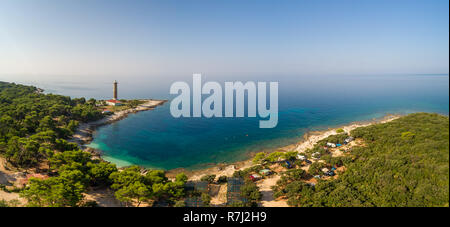 Aerial view of Veli Rat camp and lighthouse on island Dugi Otok in Croatia. - Stock Photo