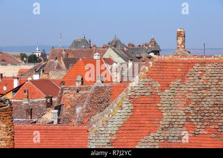 Sibiu, town in Transylvania, Romania. Townscape of the Old Town. - Stock Photo