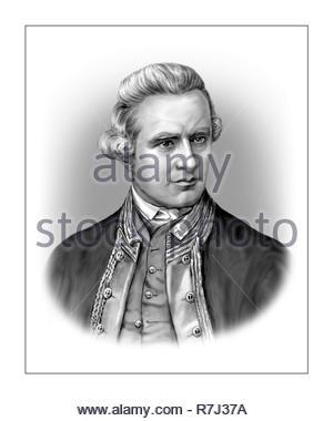 James Cook  1728 - 1779  English Navigator Explorer - Stock Photo