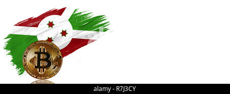Painted brush stroke in the flag of Burundi. Bitcoin cryptocurrency banner with isolated on white background with place for your text. - Stock Photo