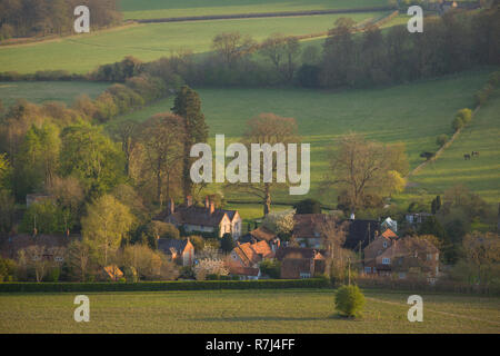 The Chilterns village of Fingest from above. - Stock Photo