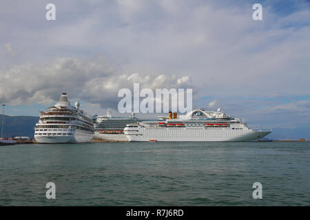 Corfu, Greece - Sep 17, 2013: Cruise liners on parking in port - Stock Photo