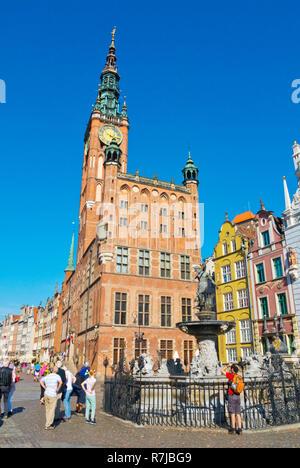 Dlugi Targ, with Fountain of Neptune, Gdansk, Poland - Stock Photo