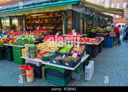 Market stalls, outside Hala Targowa, Plac Dominikanski, Gdansk, Poland - Stock Photo
