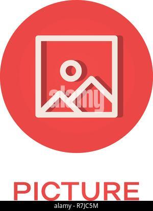 Picture round flat icon, image symbol - Stock Photo