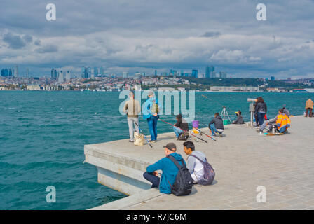 Waterfront by Bosphorus, with views to the European side, Uskudar, Istanbul, Turkey, Asian side - Stock Photo