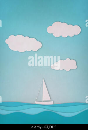Paper boat, sky and sea on blue background - Stock Photo