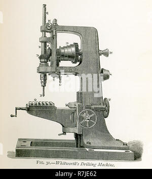 This illustration dates to the 1870s and shows Whitworth's drilling machine. Sir Joseph Whitworth (1803-1887) was an English engineer, entrepreneur, inventor and philanthropist.[2] In 1841, he devised the British Standard Whitworth system. Although he did not take on large developments such as railways and steamships, he produced the machine tools, which made these developments possible. Shown here is one of the drilling machines he devised for drilling holes in metal.  A is the strong framing, which is cast in a single piece, in order to render it as rigid as possible. The power is applied by - Stock Photo