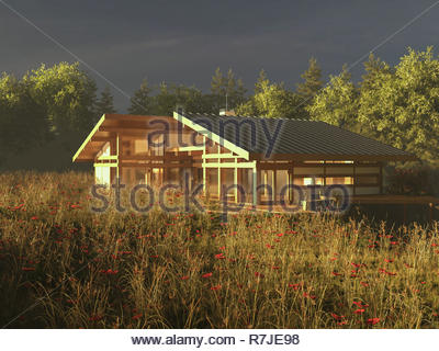 Modern house design exterior render image - Stock Photo