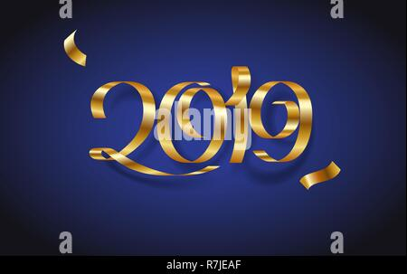 Golden ribbon Inscription Happy new year 2019 on blue background - Stock Photo