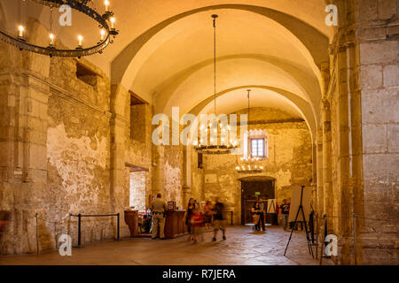 Interior of The Alamo in San Antonio Texas USA. The Alamo was founded in the 18th century as a Spanish Roman Catholic mission. - Stock Photo