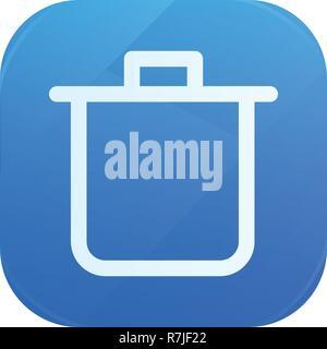 Bin glossy flat icon, remove and trash symbol - Stock Photo