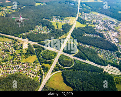 Top aerial view of transport junction - Stock Photo