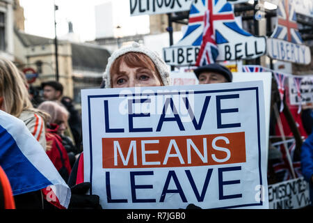 London Dec 9 2018.  Anti EU, Pro Brexit Betrayal supporters decend on London and march through Central London for rally organized by UKIP leader Gerard Batton and  Tommy Robinson (Steven Yaxley-Lennon) photo Janine Wiedel - Stock Photo