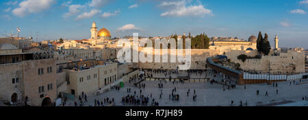 Panoramic view of Western Wall in Jerusalem Old City, Israel. - Stock Photo