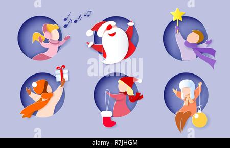 Christmas and New Year card. Children and Santa Claus in round hole, boy, girl. Vector illustration. Paper cut and craft style. - Stock Photo