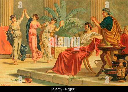 Ancient Greece. Dances after a banquet or simposium. Drawing by Dionisio Baixeras (1862-1943). Chromolithography. La Civilizacion (The Civilization), volume II, 1881. - Stock Photo