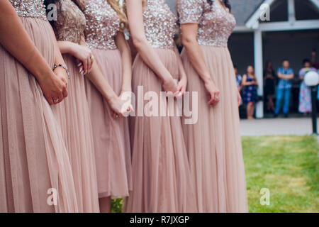 Glorious bridesmaids in pink dresses - Stock Photo