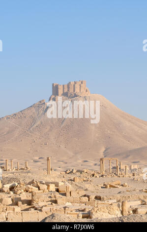 Ruins of the ancient city of Palmyra, Fakhr-al-Din al-Maani Castle castle at the back, Palmyra District, Homs Governorate, Syria - Stock Photo
