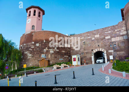 Ankara Kalesi Saat Kulesi, clock tower gate to Ankara Castle, Gozcu sokak, Altindag, Ankara, Turkey - Stock Photo
