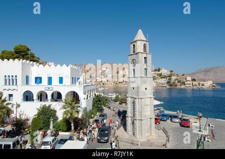 Clock Tower, Symi, Symi island, Greece - Stock Photo