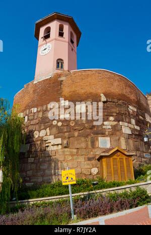 Clock tower at Saat Kulesi, the clock tower gate, Gozcu sokak, Altindag, Ankara, Turkey - Stock Photo