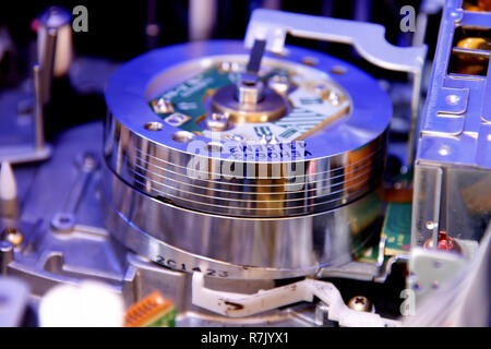 VCR rotating video head close-up inside video recorder - Stock Photo