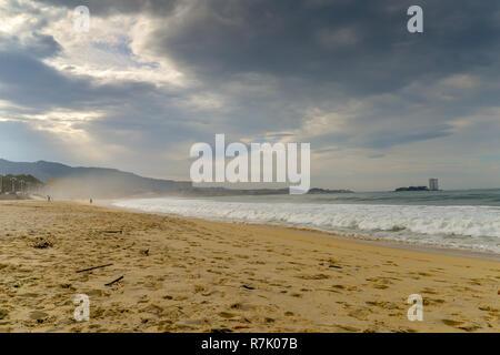 An autumn day on Samil beach - Vigo, Galicia - Spain - Stock Photo