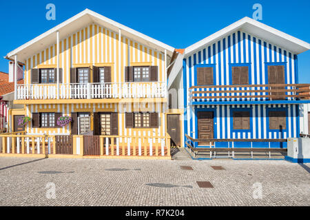 'Palheiros', typical colorful houses, Costa Nova, Aveiro, Centro region, Portugal - Stock Photo