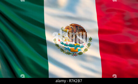 Mexico flag. 3d illustration of waving flag of Mexico - Stock Photo