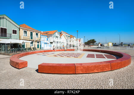 """Palheiros"", Typical colorful houses, Costa Nova, Aveiro, Beira, Portugal - Stock Photo"
