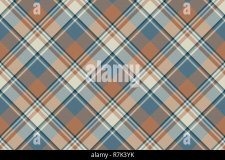 Tartan plaid pattern in beige and brown. Print fabric texture seamless. Check vector background. - Stock Photo