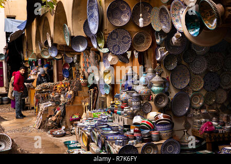 Morocco, Fes, Fes el Bali, Medina, Talaa Seghira, stall selling traditional locally made blue pottery - Stock Photo