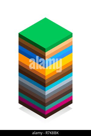 The structure of the earth in isometric style. Cartoon scheme. Isolated on white background. Geology scheme. Flat vector illustration - Stock Photo