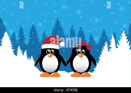 two cute christmas penguins on snowy winter forest background vector illustration EPS10 - Stock Photo