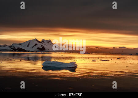 Sunset over the lagoon with drifting icebergs and snow mountains in the background, Lemaire Channel, Antarctica - Stock Photo