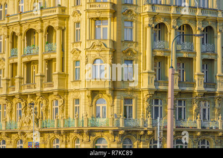 Prague hotel, view of the colorful facade of a typical Art Nouveau hotel building in the Nove Mesto district of Prague, Czech Republic. - Stock Photo