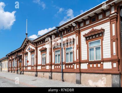 Rauma, Finland. Historic wooden buildings in Vanha Rauma (Old Town District), Rauma, Satakunta, Finland - Stock Photo