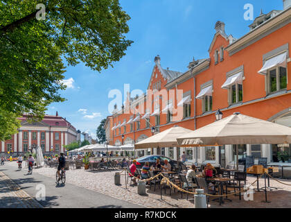 Cafe / bar on the banks of the River Aura (Aurajoki) in the historic centre, Turku, Finland - Stock Photo
