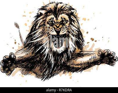 Portrait of a jumping lion from a splash of watercolor - Stock Photo