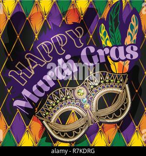 Mardi Gras mask, colorful poster, template, flyer. Vector illustration - Stock Photo