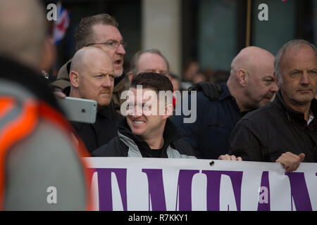 London, UK. 9th Dec 2018. Tommy Robinson and Gerard Batten join together to protest the Brexit Betrayal in London ,England on the 9th December 2018 Credit: George Cracknell Wright/Alamy Live News - Stock Photo