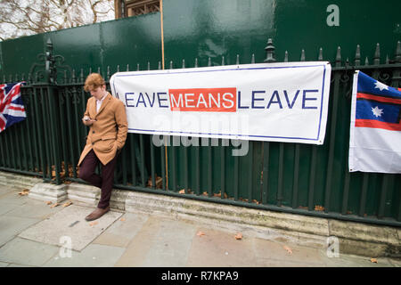 London UK. 10th December 2018. A Pro Leave banner hangs outside Parliament  on the day Prime Minister Theresa May's postpones the Brexit Agreement  vote in the House of Commons Credit as markets react to the news and the British Pounds falls to its lowest against the US Dollar : amer ghazzal/Alamy Live News Stock Photo