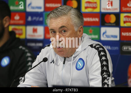 Carlo Ancelotti, the Napoli manager at the UEFA Champions league, Napoli team press conference at Anfield Stadium in Liverpool on Monday 10th December 2018. the team are preparing ahead of tomorrow's match against Liverpool FC. this image may only be used for Editorial purposes. Editorial use only, license required for commercial use. No use in betting, games or a single club/league/player publications . pic by Chris Stading/Andrew Orchard sports photography/Alamy Live news - Stock Photo