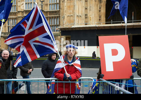 Westminster, London, UK. 10th December 2018, Westminster, London. Both Anti and Pro Brexit Supporters protested outside Parliament while Theresa May delivered the news that the Vote on Brexit was cancelled. Credit: Thomas Bowles/Alamy Live News Stock Photo